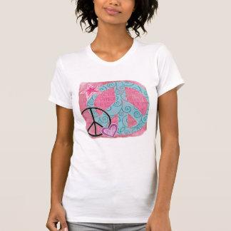 Rosa Friedensherz-Stern T-Shirt