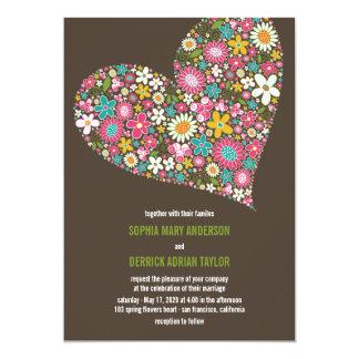 Rosa Frühlings-Blumen-Herz-wunderliche Hochzeit Karte