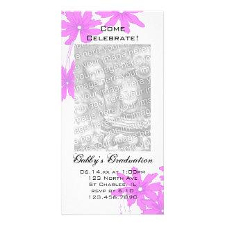 Rosa Gänseblümchen-Abschluss-Party Fotokarte