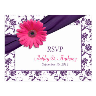 Rosa Gänseblümchen-lila Damast-Hochzeit UAWG Postkarte