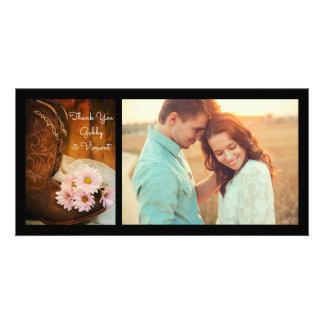 Rosa Gänseblümchen und die Wedding Cowboystiefel Karte