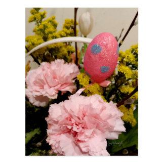 Rosa Gartennelken-Blumenei-Korb jjhelene Ostern Postkarte