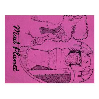 Rosa Geist-Mädchen und verärgerter Bär Postkarte