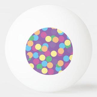 Rosa gelb-orangee grün-blaue u. lila Polka-Punkte Tischtennis Ball