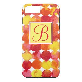 Rosa gelb-orangees rotes Intertactions Monogramm iPhone 8 Plus/7 Plus Hülle