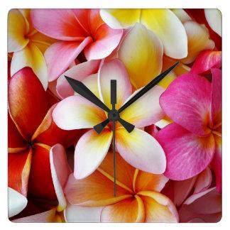 Rosa gelbe weiße Mischplumeria-Blume Wanduhr