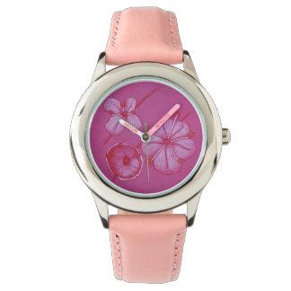 Rosa gemalte Blumen-Uhr Uhr