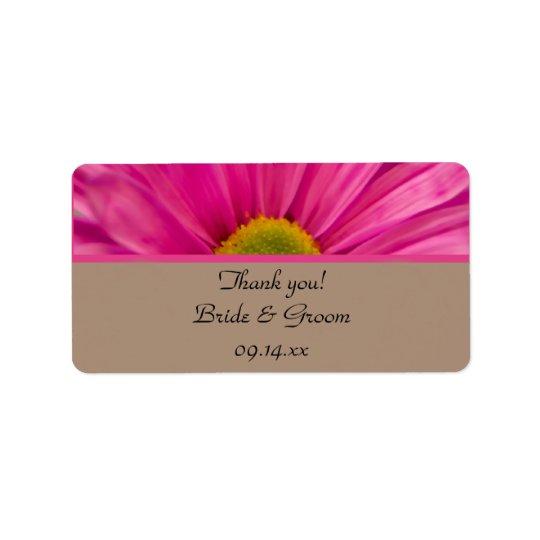 Rosa Gerber Gänseblümchen-Hochzeit danken Ihnen, Adress Aufkleber