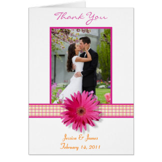 Rosa Gerbera-Gänseblümchen-danken kariertes Grußkarte
