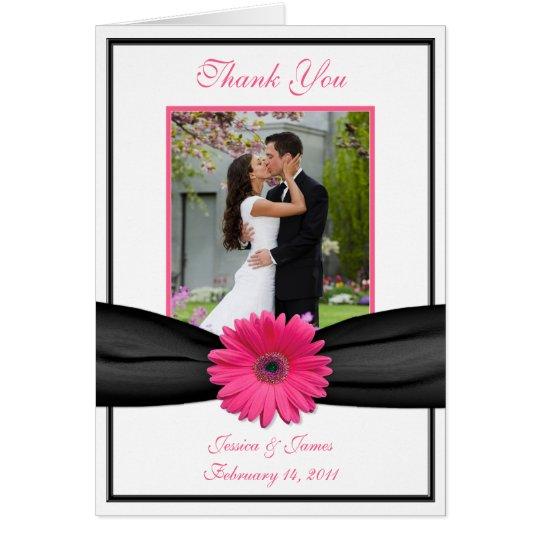 Rosa Gerbera-Gänseblümchen-Schwarz-Hochzeits-Foto Grußkarte