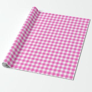 Rosa Gingham-Karo-Muster Einpackpapier