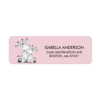 Rosa Giraffen-Babyparty-Adressen-Etikett
