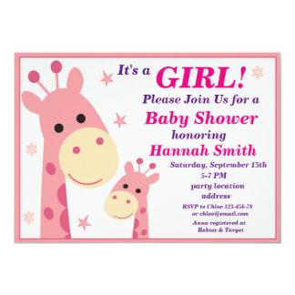 Rosa Giraffen-Babypartyeinladung 12,7 X 17,8 Cm Einladungskarte