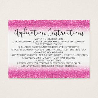 Rosa Glitter-Anwendungs-Anweisungen Visitenkarte