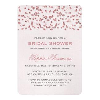 Rosa Glitter-Blickconfetti-Brautparty laden ein 12,7 X 17,8 Cm Einladungskarte