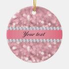 Rosa Glitter Bokeh und Diamanten personalisiert Keramik Ornament