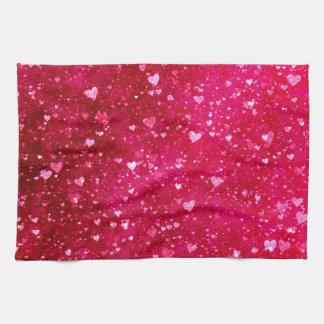 Rosa Glitter-Herz-Muster Küchentuch