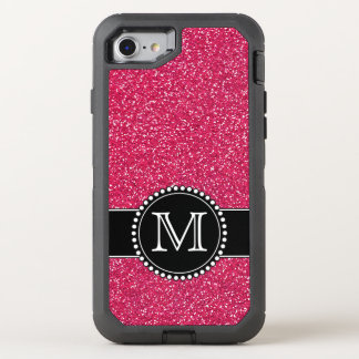 Rosa Glitter mit Monogramm Otterbox OtterBox Defender iPhone 7 Hülle