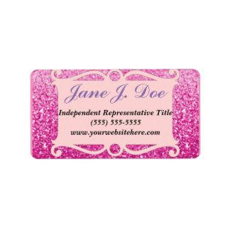 Rosa Glitter-Rahmen-Broschüren-Aufkleber Adressetikett