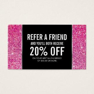 Rosa Glitter-und Glamour-Empfehlungs-Karte Visitenkarten