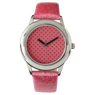 rosa Glitteruhr mit Rot punktiertem Entwurf Armbanduhr