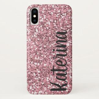 Rosa Glitzer personalisiert mit Ihrem Namen iPhone X Hülle