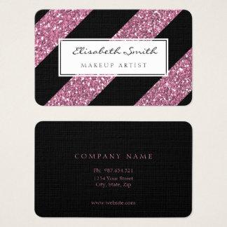 Rosa Glitzer und diagonale Streifen, Visitenkarte