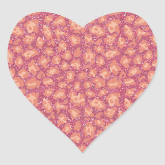 Rosa Glitzercheetah-Druck Herz-Aufkleber