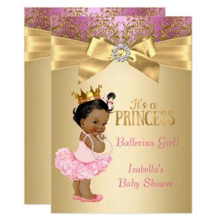 Rosa-Goldballerina Prinzessin-Babyparty ethnisch Karte