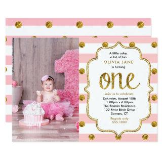 Rosa, GoldGlitter-erste Geburtstags-Foto-Einladung 12,7 X 17,8 Cm Einladungskarte