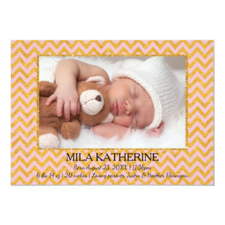 Rosa/GoldGlitter Zickzack Foto-Geburt Mitteilung Karte