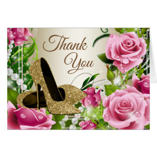 Rosa Goldhohe Fersen-Schuh-Rosen danken Ihnen Karte