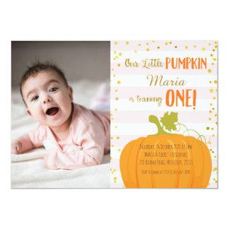 Rosa Goldkürbis-erste Geburtstags-Einladung 12,7 X 17,8 Cm Einladungskarte