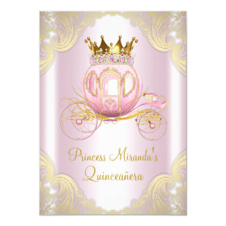 Rosa Goldprinzessin Quinceanera Aschenputtels 11,4 X 15,9 Cm Einladungskarte