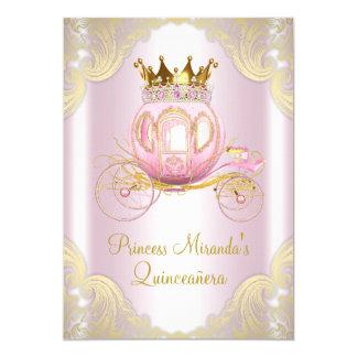 Rosa Goldprinzessin Quinceanera Aschenputtels 12,7 X 17,8 Cm Einladungskarte