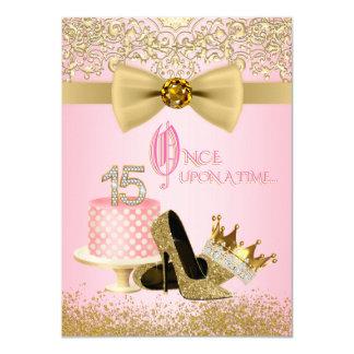 Rosa GoldQuinceanera Prinzessin 15. Geburtstag 11,4 X 15,9 Cm Einladungskarte