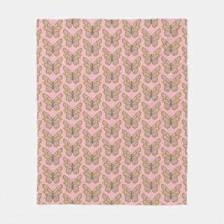 Rosa Goldschmetterlings-Fleece-Decke Fleecedecke