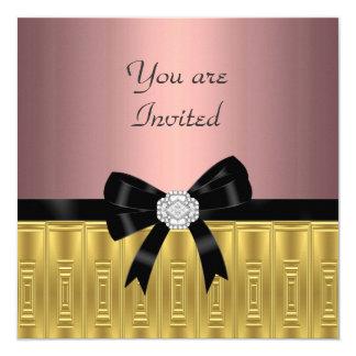 Rosa Goldstilvolle Party Einladung