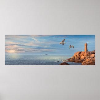 Rosa Granitküste in der Bretagne, Frankreich Poster