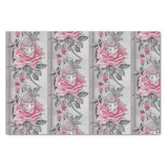 Rosa Grau Rosen-Damen-Seidenpapier-| Seidenpapier