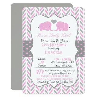 Rosa graue Elefant-Babyparty-Einladung Karte