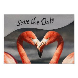 Rosa graue Herz-Flamingos Save the Date Karte