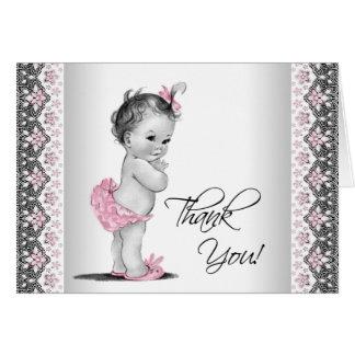 Rosa graue Vintage Baby-Dusche danken Ihnen Mitteilungskarte