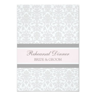 Rosa graues Damast-Proben-Abendessen-Party 12,7 X 17,8 Cm Einladungskarte