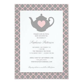 Rosa + Graues Quatrefoil Baby-Duschen-Tee-Party 12,7 X 17,8 Cm Einladungskarte