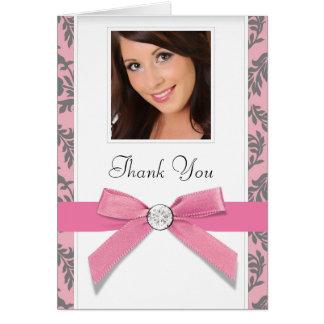 Rosa graues Strudel-Damast-Foto danken Ihnen Mitteilungskarte