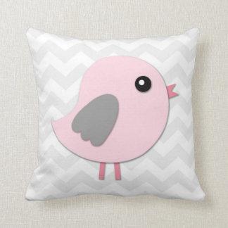 Rosa graues Vogel-Kinderzimmerthrow-Kissen Kissen