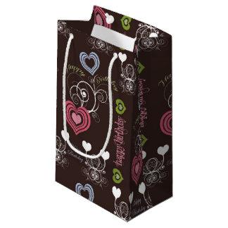 Rosa/Grün/blaue Herz-Geschenk-Tasche - klein, Kleine Geschenktüte