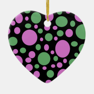 rosa grüne pokka Punkte Keramik Herz-Ornament