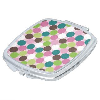 Rosa grüne Tupfen Taschenspiegel